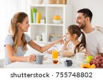 family  eating and people... | Shutterstock . vector #755748802