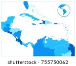 blue map of the caribbean and... | Shutterstock .eps vector #755750062
