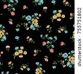 floral pattern in vector | Shutterstock .eps vector #755751802