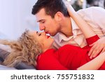 husband and wife gently kissing ... | Shutterstock . vector #755751832