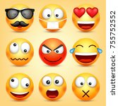 smiley emoticons set. yellow... | Shutterstock .eps vector #755752552