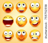smiley emoticons set. yellow... | Shutterstock .eps vector #755752558