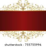 vintage banner with golden... | Shutterstock .eps vector #755755996
