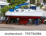 dock workers repairing yacht in ... | Shutterstock . vector #755756386