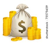 stacks of coins and money bag ...   Shutterstock .eps vector #75575659