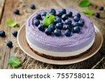 raw vegan blueberry cashews... | Shutterstock . vector #755758012