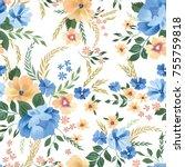 floral seamless pattern. flower ... | Shutterstock .eps vector #755759818