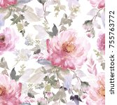 Stock photo peonies bouquet seamless pattern watercolor painting 755763772