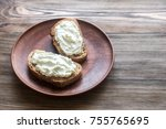 toasts with cream cheese | Shutterstock . vector #755765695