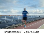 blurred joggers on cruise ship...   Shutterstock . vector #755766685