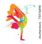 the dancing boy with colorful... | Shutterstock .eps vector #75576898