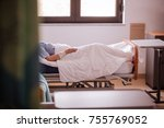 terminally ill patient sits in... | Shutterstock . vector #755769052