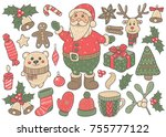 christmas  new year 2018. santa ... | Shutterstock .eps vector #755777122