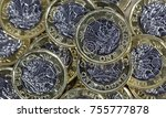 close up of a pile of one pound ... | Shutterstock . vector #755777878