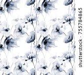 seamless wallpaper with blue... | Shutterstock . vector #755784865