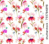 seamless pattern with garden...   Shutterstock . vector #755784898