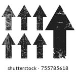 Set of black grunge texture arrows. Vector illustration.