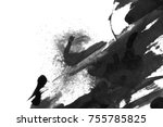 abstract ink background. marble ... | Shutterstock . vector #755785825