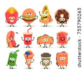 funny cartoon characters. fast... | Shutterstock .eps vector #755790265