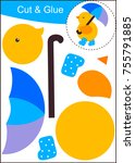 cut and paste worksheet ...   Shutterstock .eps vector #755791885