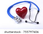 medical stethoscope and red... | Shutterstock . vector #755797606