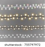 christmas lights isolated on... | Shutterstock .eps vector #755797972