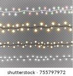 christmas lights isolated on... | Shutterstock .eps vector #755797972