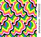 vector hippie seamless pattern... | Shutterstock .eps vector #755802112