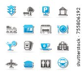 urban and city elements icons   ... | Shutterstock .eps vector #755806192