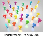3d rendering  question marks | Shutterstock . vector #755807608