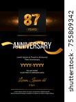87 years golden anniversary... | Shutterstock .eps vector #755809342