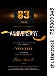 83 years golden anniversary... | Shutterstock .eps vector #755809345