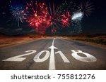 2018 new year celebration... | Shutterstock . vector #755812276
