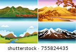 four background scenes with... | Shutterstock .eps vector #755824435