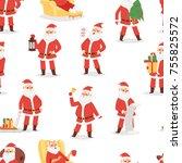 christmas santa claus vector... | Shutterstock .eps vector #755825572