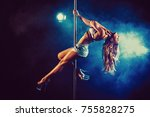 Young Sexy Slim Woman Pole...