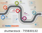 business road map timeline... | Shutterstock .eps vector #755830132