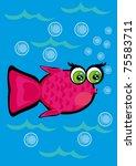 cartoon little fish on isolated ... | Shutterstock .eps vector #75583711