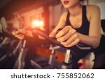 exercise bike cardio workout at ... | Shutterstock . vector #755852062