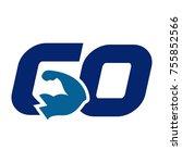 go vector logo. fitness logo.   Shutterstock .eps vector #755852566