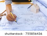 close up of civil male engineer ... | Shutterstock . vector #755856436