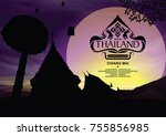 thailand place silhouette with...   Shutterstock .eps vector #755856985