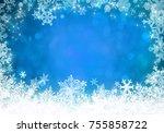 blue christmas background | Shutterstock . vector #755858722