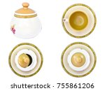 set of coffee and tea cup on a... | Shutterstock . vector #755861206