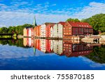 Colorful old houses at the Nidelva river embankment in the center of Trondheim old town, Norway