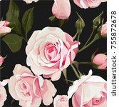 rose bouquet vector seamles... | Shutterstock .eps vector #755872678