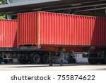 red container truck in