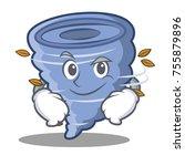smirking tornado character... | Shutterstock .eps vector #755879896