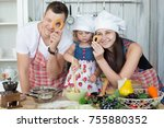 young family  mother father and ... | Shutterstock . vector #755880352