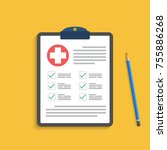 clipboard with medical cross... | Shutterstock .eps vector #755886268